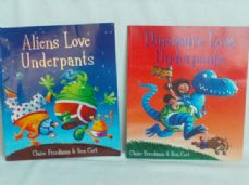 Adorable Set of two 'Aliens Love Underpants' & 'Dinosaurs Love Underpants' Bedtime Story Books